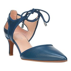 Franco Sarto Lace Up Leather Pumps Blue